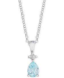 "Blue Topaz 18"" Pendant Necklace (7/8 ct. t.w.) in Sterling Silver"