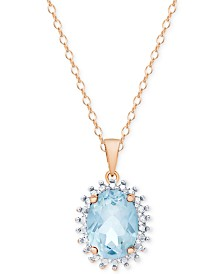 "Blue Topaz 18"" Pendant Necklace (1-5/8 ct. t.w.) in Sterling Silver & 18k Rose Gold-Plate"