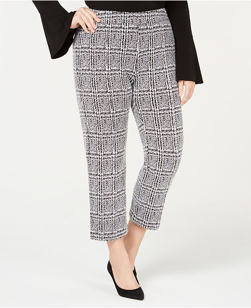32545a53cd35a MICHAEL Michael Kors. Plus Size Plaid Jacquard Cropped Cigarette Pants. Be  the first to Write a Review. main image  main image ...