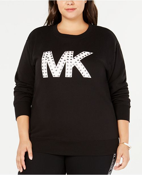80c5fbea683 Michael Kors Plus Size Studded MKGO Logo Sweatshirt   Reviews - Tops ...