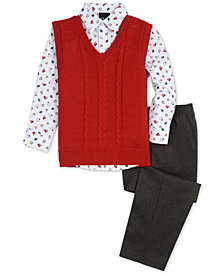 TFW Little Boys 3-Pc. Cable-Knit Sweater Vest, Shirt & Pants Set