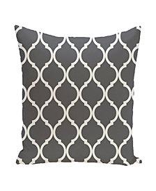 16 Inch Dark Gray Decorative Trellis Print Throw Pillow