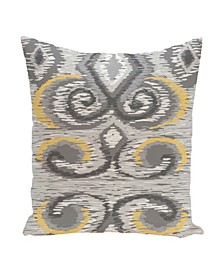16 Inch Light Gray and Yellow Decorative Flocked Floral Throw Pillow