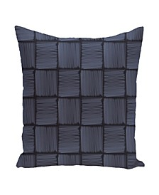 16 Inch Navy Blue and Light Blue Decorative Squares Throw Pillow