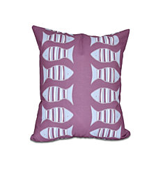 Something's Fishy 16 Inch Purple and Light Blue Decorative Coastal Throw Pillow