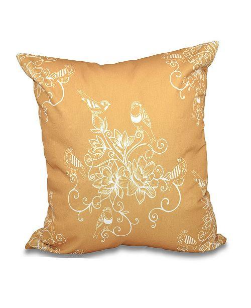 E by Design Morning Birds 16 Inch Gold Decorative Floral Throw Pillow