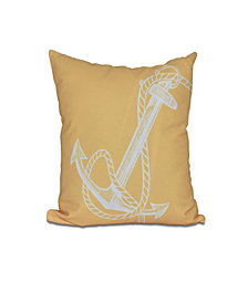 Anchored 16 Inch Yellow Decorative Nautical Throw Pillow