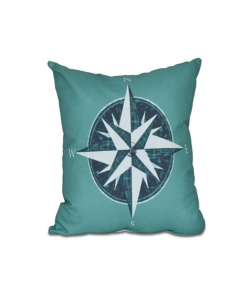E by Design Compass 16 Inch Green and Navy Blue Decorative Nautical Throw Pillow
