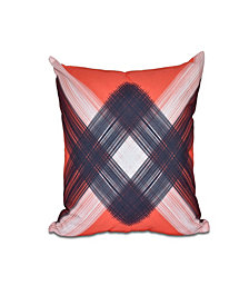 String Art 16 Inch Orange and Navy Blue Decorative Abstract Throw Pillow