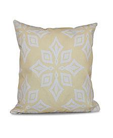 Beach Star 16 Inch Yellow Decorative Geometric Throw Pillow