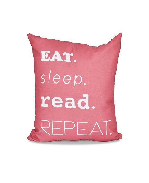 E by Design My Mantra 16 Inch Coral Decorative Word Print Throw Pillow