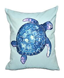Sea Turtle 16 Inch Aqua Decorative Coastal Throw Pillow