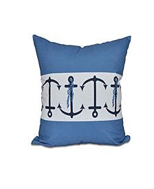 Anchor Stripe 16 Inch Blue Decorative Nautical Throw Pillow