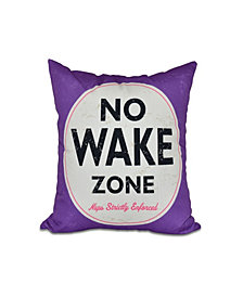 Nap Zone 16 Inch Purple Decorative Word Print Throw Pillow