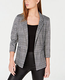BCX Juniors' 3/4-Sleeve Houndstooth Blazer Jacket