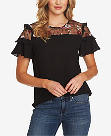 CeCe Embroidered Mesh Top