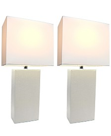 Elegant Designs 2 Pack Modern Leather Table Lamps with White Fabric Shades