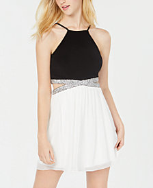 Speechless Juniors' Embellished Halter Fit & Flare Dress