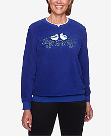 Alfred Dunner Petite Classics Bluejay-Appliqué Knit Top