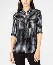 MICHAEL Michael Kors Petite Printed Zip-Front Collared Shirt