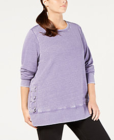 Ideology Plus Size Crisscross-Sides Burnout Top, Created for Macy's
