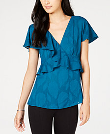 MICHAEL Michael Kors Petite Ruffled V-Neck Top