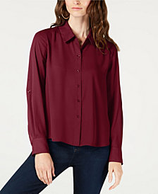 I.N.C. Roll-Tab-Sleeve High-Low Shirt, Created for Macy's
