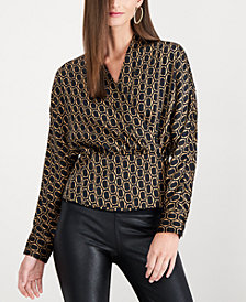 I.N.C. Printed Wrap Blouse, Created for Macy's