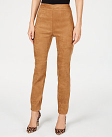 I.N.C. Faux-Suede Pull-On Pants, Created for Macy's