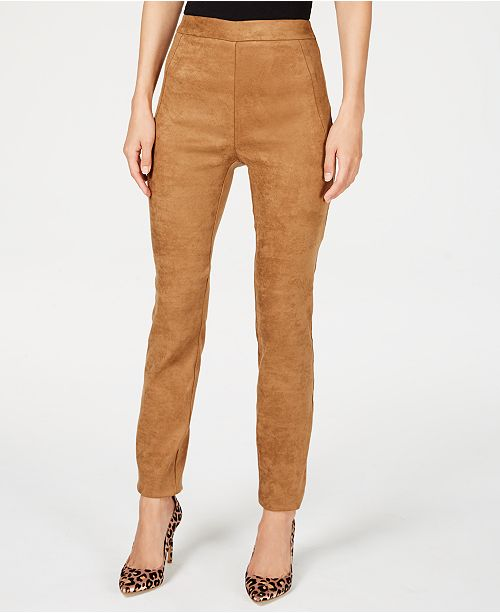 INC International Concepts I.N.C. Faux-Suede Pull-On Pants, Created for Macy's