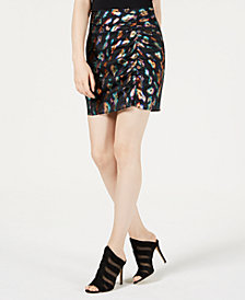 GUESS Animal-Print Mini Skirt