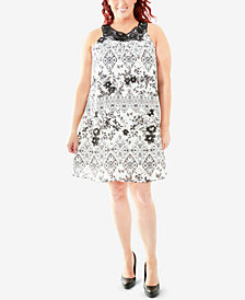 NY Collection Plus Size Printed Crochet-Neck Trapeze Dress