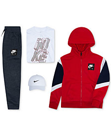 Nike Little Boys Swoosh Cap, Air Full-Zip Hoodie, Graphic-Print T-Shirt & Pants