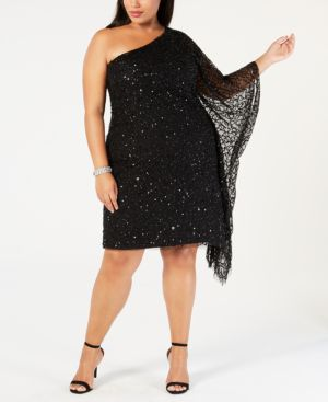 ADRIANNA PAPELL Plus Size Sequined One-Shoulder Dress in Black