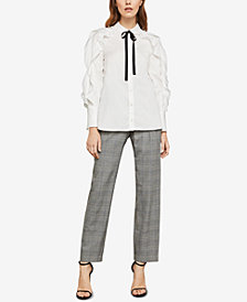BCBGMAXAZRIA Ruffled Tie-Neck Shirt