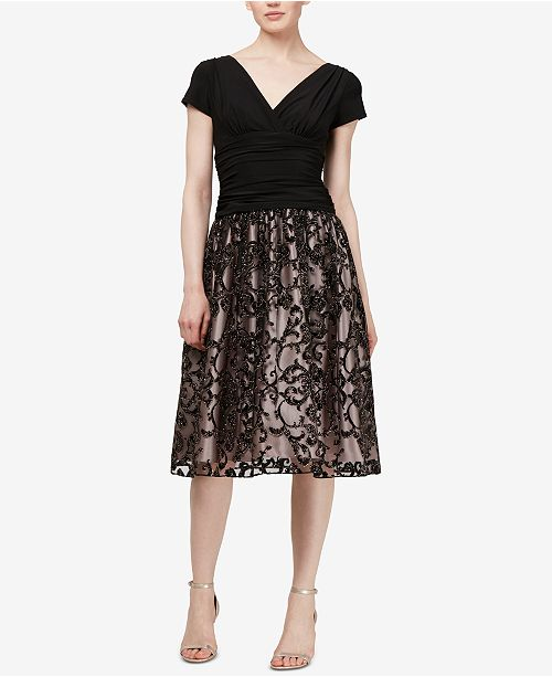 8938ab41 SL Fashions Glitter-Appliqué Fit & Flare Dress & Reviews - Dresses ...