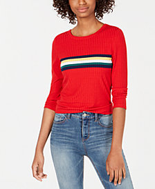 Crave Fame Juniors' Striped Ribbed-Knit Top
