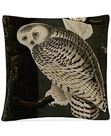 "John James Audubon Snowy Owl 16"" x 16"" Decorative Throw Pillow"