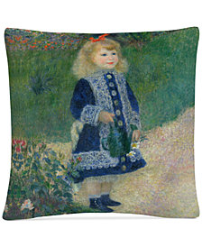 "Pierre Renoir A Girl With a Watering Can 16"" x 16"" Decorative Throw Pillow"