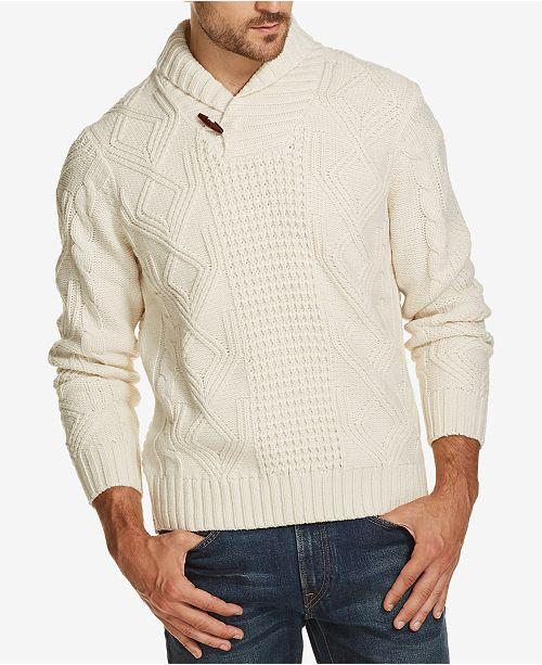 Weatherproof Vintage Mens Fisherman Shawl Collar Sweater Sweaters