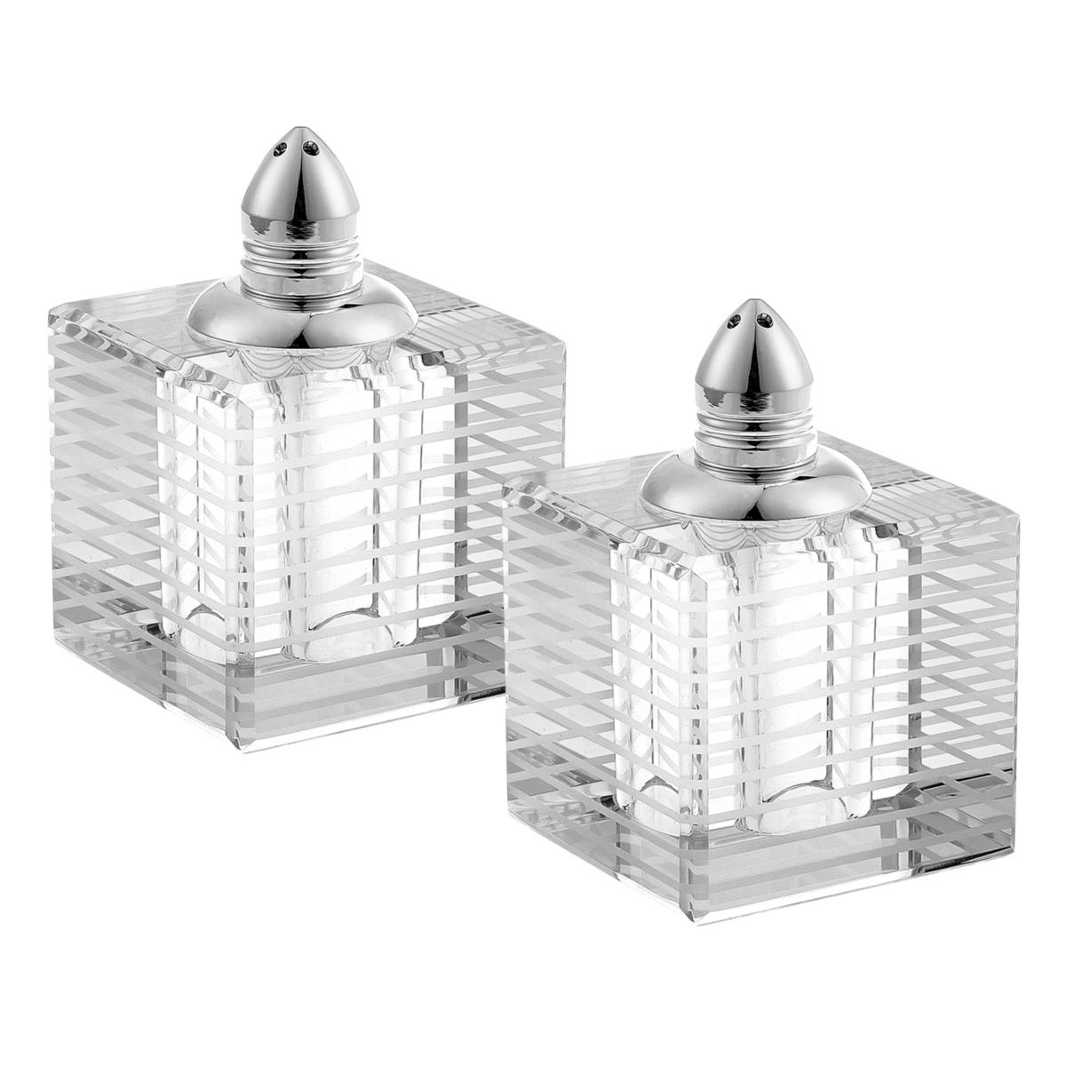 Badash Crystal Pinstripes Platinum Salt & Pepper Shaker Pair