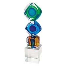 Badash Crystal Tricolor Cubes Art Glass Sculpture