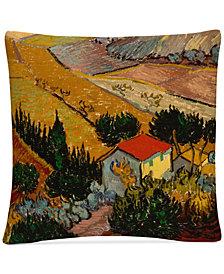 """Vincent Van Gogh Landscape with House 16"""" x 16"""" Decorative Throw Pillow"""