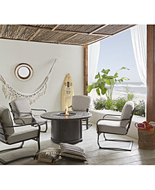 Vintage II 5-Pc. Round Fire Pit Chat Set, with Sunbrella® Cushions (1 Firepit & 4 Chairs), Created for Macy's
