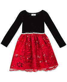 Rare Editions Toddler Girls Velvet Sequin Embroidered Dress