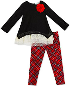Rare Editions Toddler Girls 2-Pc. Sweater & Plaid Leggings Set