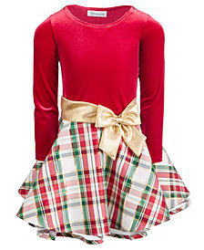 Bonnie Jean Little Girls Velvet Metallic Plaid Dress