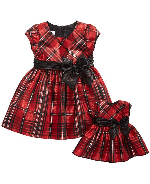 d9ca8ee853a3 ... Bonnie Jean Toddler Girls 2-Pc. Plaid Dress & Doll Dress ...