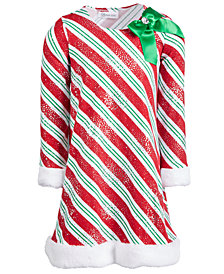 Bonnie Jean Toddler Girls Striped Santa Dress