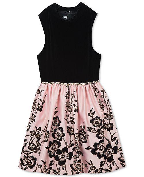 8847dc217 Rare Editions Big Girls Velvet Satin Flocked Dress   Reviews ...